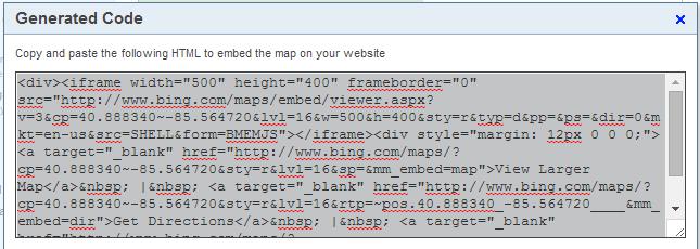 Bing Embedded Map Code