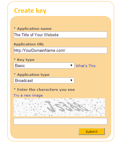 Create Key Bing