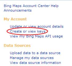 Create Or View Keys Bing