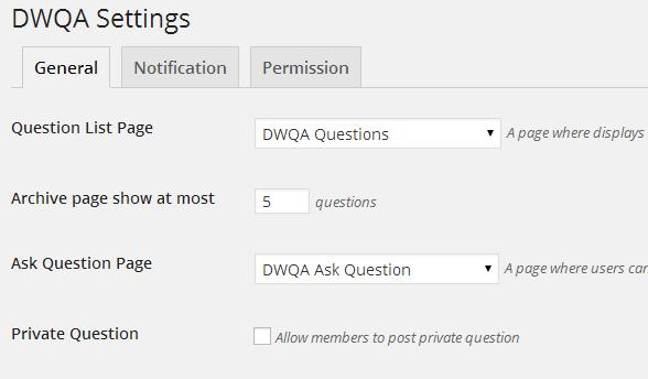 DWQA Settings