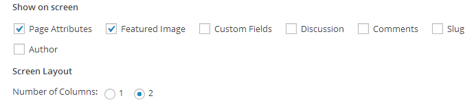 Screen  OptionsCheck Boxes