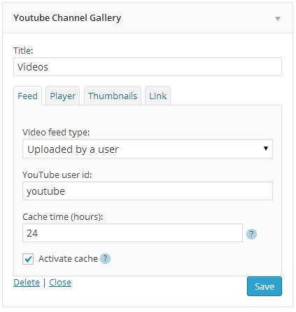 YouTube Widget Options