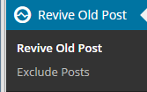 Revive Old Posts Menu