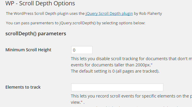 WP Scroll Depth Page