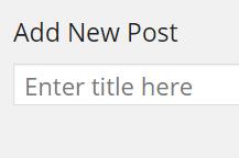 Enter Post Title