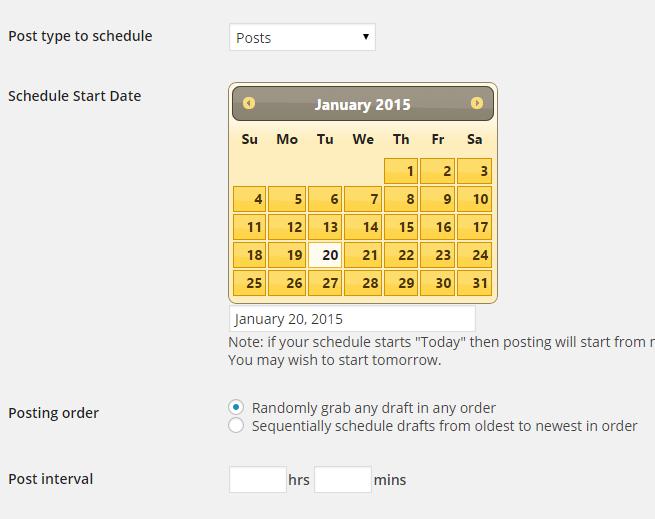 Draft Scheduler Page