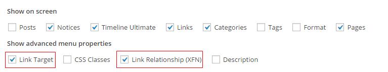Link Target Options