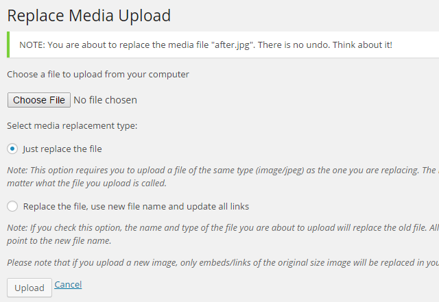Replace Media Upload