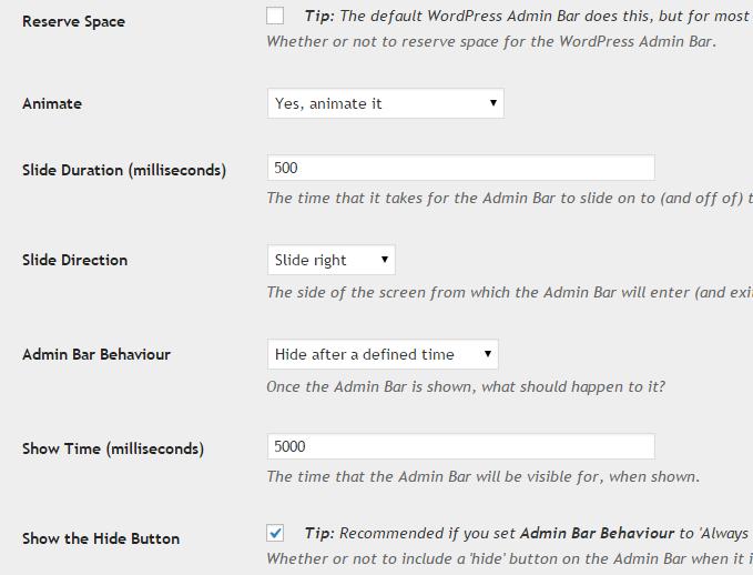 WordPress Admin Bar Settings