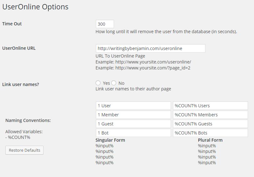 User Online Configurations