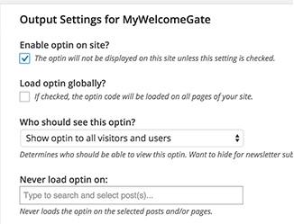 Enable Optin On Site