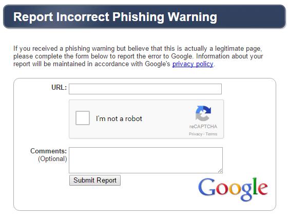 Incorrect Phishing Warning